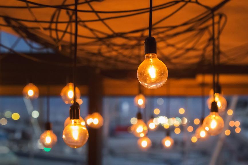 Lightbulbs at dawn representing new ideas