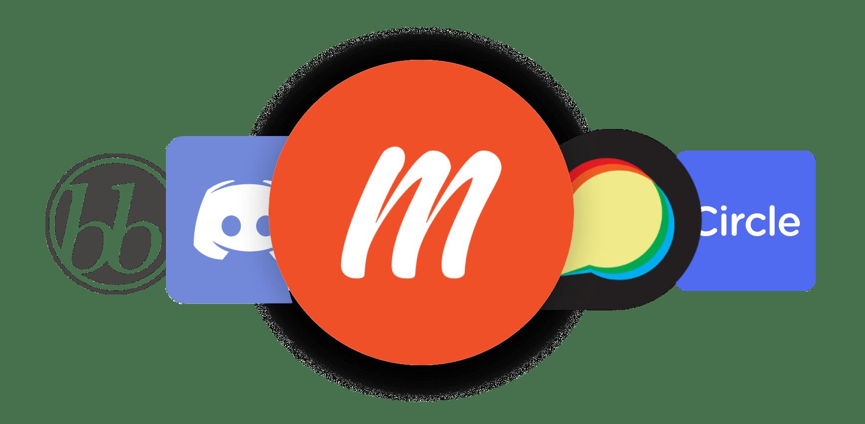 Memberful logo in front of Discourse logo, Discord logo, bbPress logo, and Circle logo