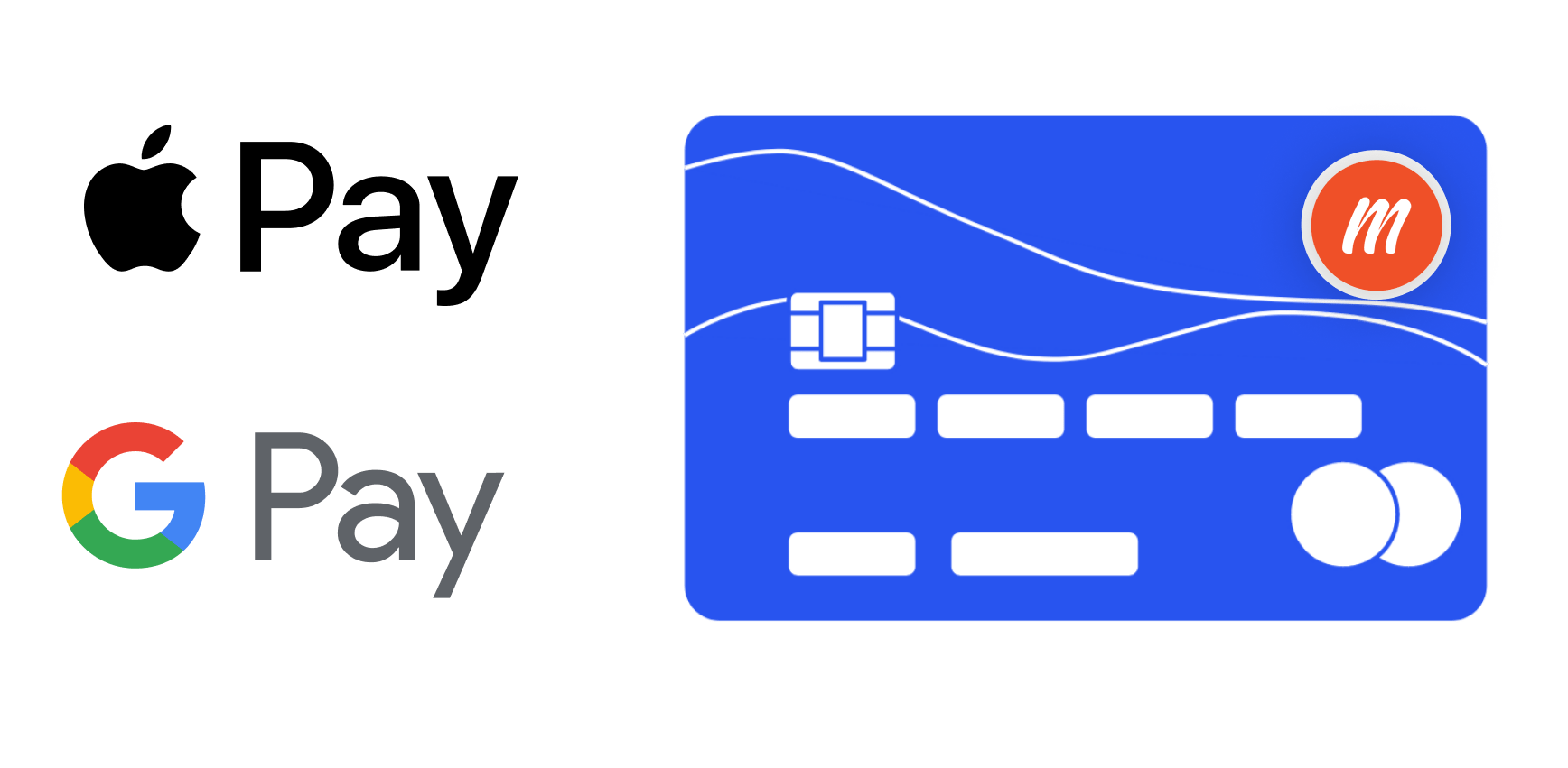 Apple Pay Logo, Google Pay Logo, Illustrated credit card with Memberful logo on it