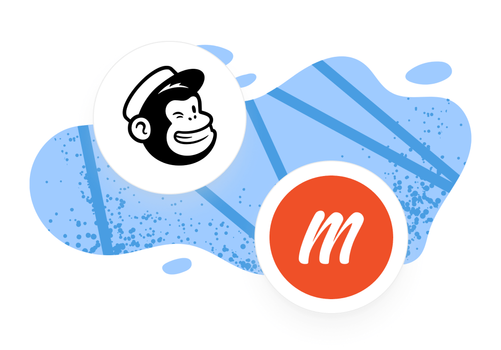 Memberful and Mailchimp logos with illustrated background