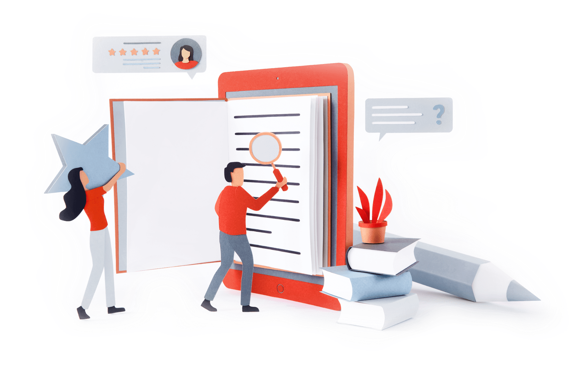 Paper illustration of 3 people at work