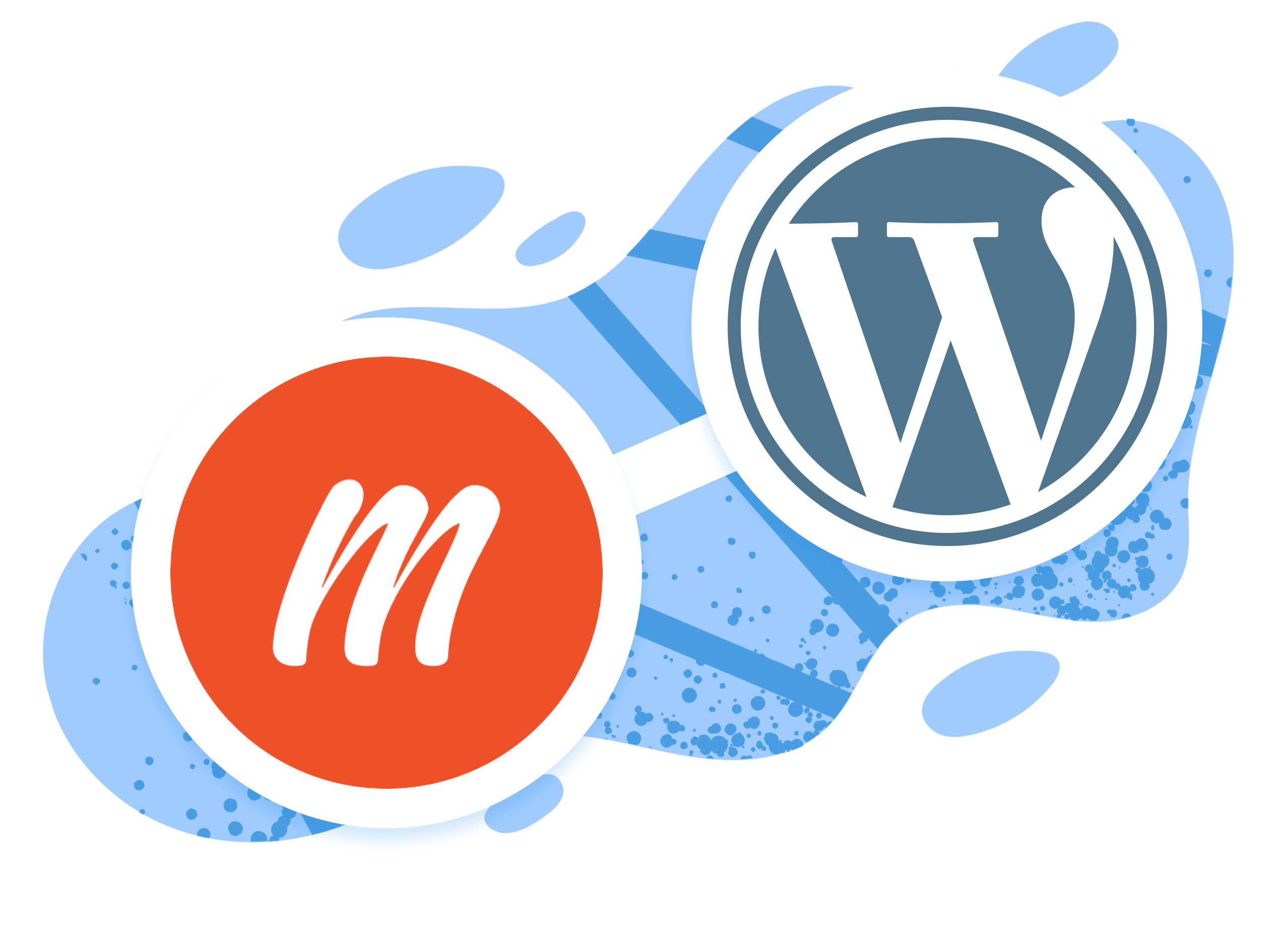 Memberful logo and WordPress logo illustration